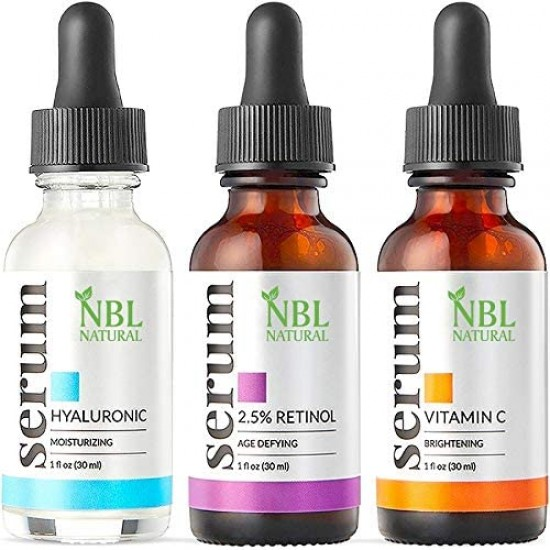 NBL Natural Anti Aging with Vitamin C Retinol and Hyaluronic Acid Serum for Anti Wrinkle and Dark Circle Remover  (3 x 30 ML)