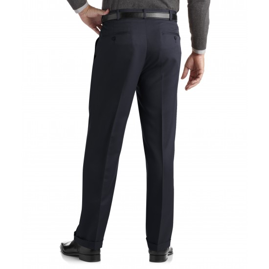 Men s Pleated Cuffed Microfiber Dress Pant With Adjustable Waistband