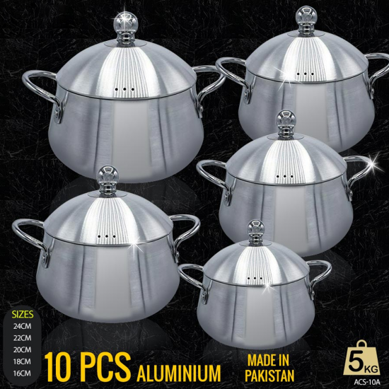 10 Pcs High Quality Aluminium Cookware Set - ACS-10A