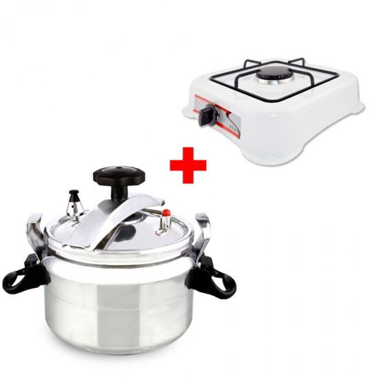 2 In 1 Bundle Offer 5 Litre Pressure Cooker+Single Burner Gas Stove - White BND17-70