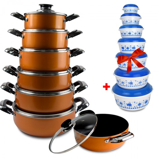 2 In 1 Bundle Offer 12 Pcs Nonstick Cookware +14 Pcs Food Container BND17-86