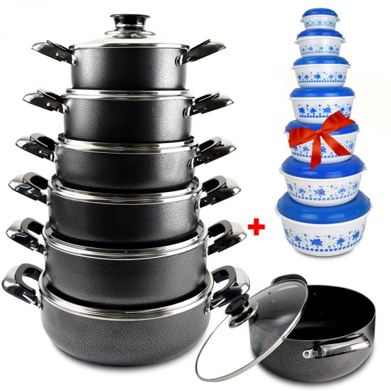 2 In 1 Bundle Offer 12 Pcs Nonstick Cookware+14 Pcs Food Container BND17-85
