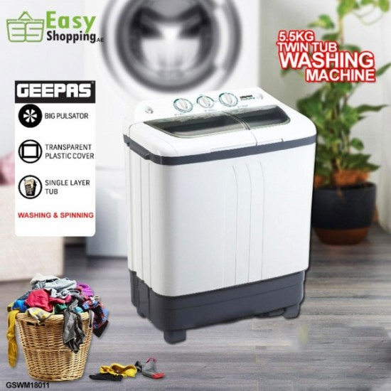 Geepas 5.5KG Twin Tub Washing Machine - GSWM18011