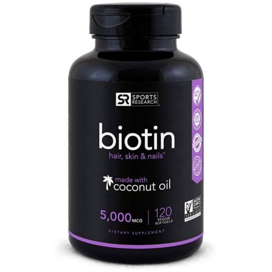 Biotin (High Potency) 5000mcg Per Veggie Softgel; Enhanced with Coconut Oil for better absorption