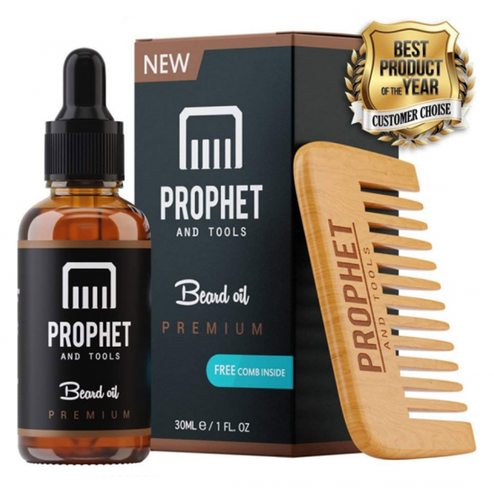 PREMIUM Unscented Beard Oil and Comb Kit for Thicker Facial Hair Grooming - The All-In-One Conditioner and Shampoo-like Softener