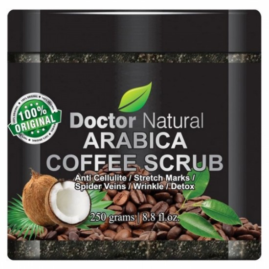 Doctor Natural Arabica Coffee Scrub With Organic Coffee, Coconut And Shea Butter 8.8 Oz