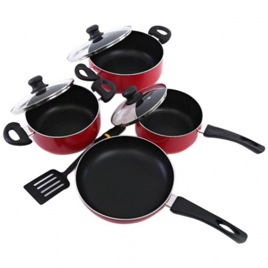 Royalford Scratch Resistant Cookware Set of 8 Pcs Red and Black - RF6082