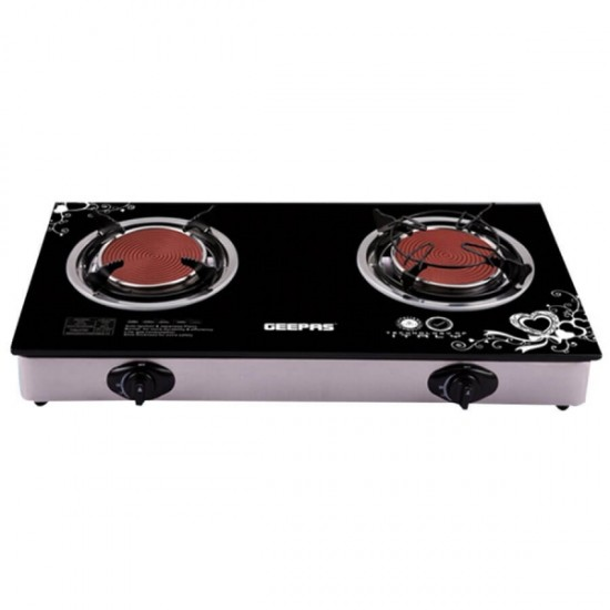 Geepas Glass Gas Stove Infrared Burner Stainless Steel Frame - GK6865