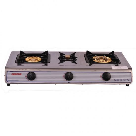 Geepas Stainless Steel 3 Gas Burners - GK74