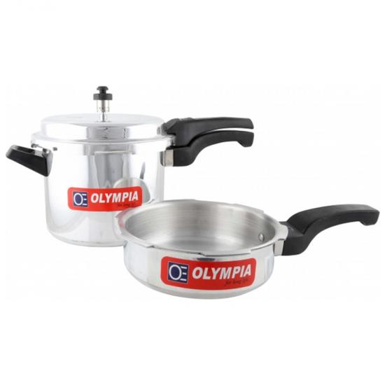 Olympia 5L Aluminium Pressure Cooker & 2.5L Aluminium Pressure Pan, OE-155
