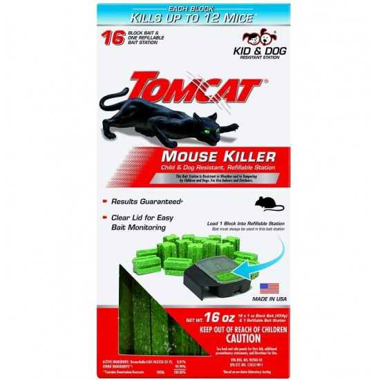 Tomcat Mouse Killer Refillable Station for Indoor/Outdoor Use - Child and Dog Resistant 1 Station with 16 Baits