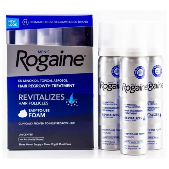 Men s Rogaine 5 Minoxidil Foam for Hair Loss and Hair Regrowth, Topical Treatment for Thinning Hair 3 Months Supply