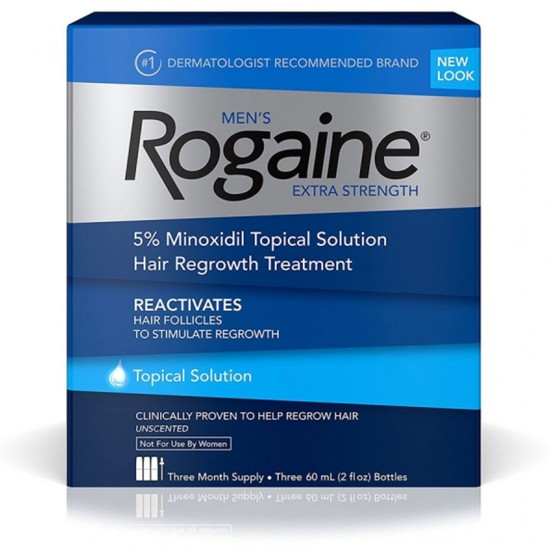 Men s Rogaine Extra Strength 5 Minoxidil Topical Solution for Hair Loss and Hair Regrowth, Topical Treatment for Thinning Hair, 3-Month Supply