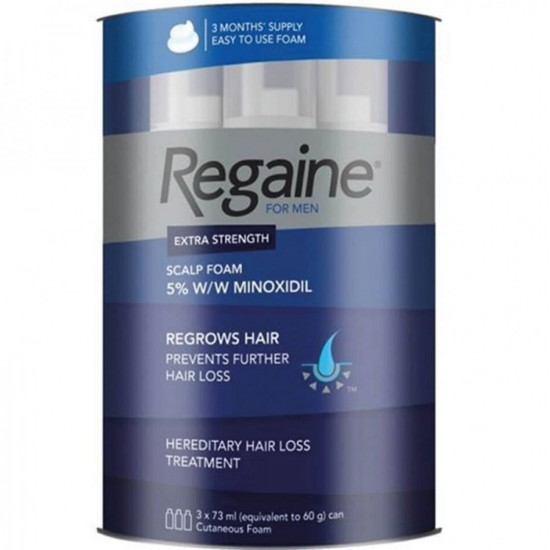 Men s Regaine 5 Minoxidil Foam For Hair Loss And Hair Regrowth, Topical Treatment For Thinning Hair 73 ml - Triple Pack, 3 Months Supply