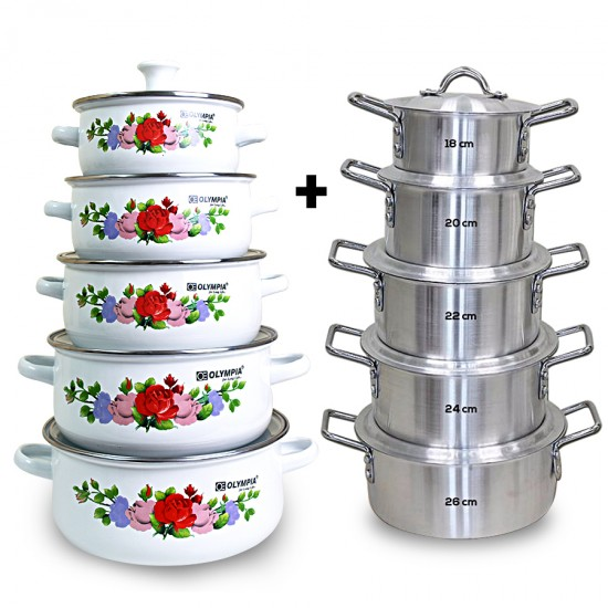 10 Pcs Aluminium Cookware Set With 10 Pcs Casserole Set Bundle ( BND18-107 )