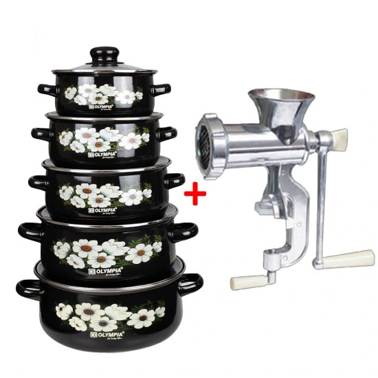 2 In 1 Bundle Offer 10 Pcs Black Casserole Olympia OE-009 And Multipurpose Meat Mincer - BND1917