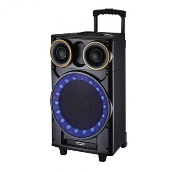 Geepas Rechargeable Trolley Speaker Usb Fm Bt Rmt Mic - GMS8533
