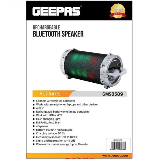 Geepas Rechargeable Bluetooth Speaker Usb Tf Fm - GMS8589