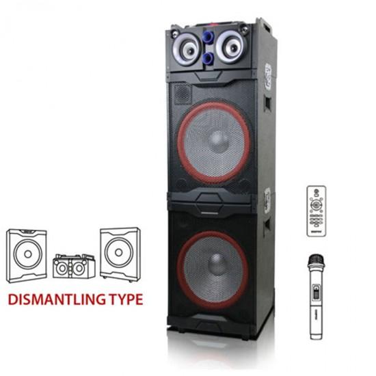 Geepas Double 15 Professional Speaker Usb Fm Bt Mic Rmt - GMS8598