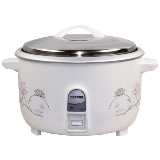 Geepas Electric Rice Cooker, Cook And Warm, Stainless Steel Lid, 8.0L - GRC4322