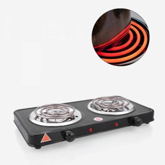 Olympia Double Hot Plate Stove Black - OE-40