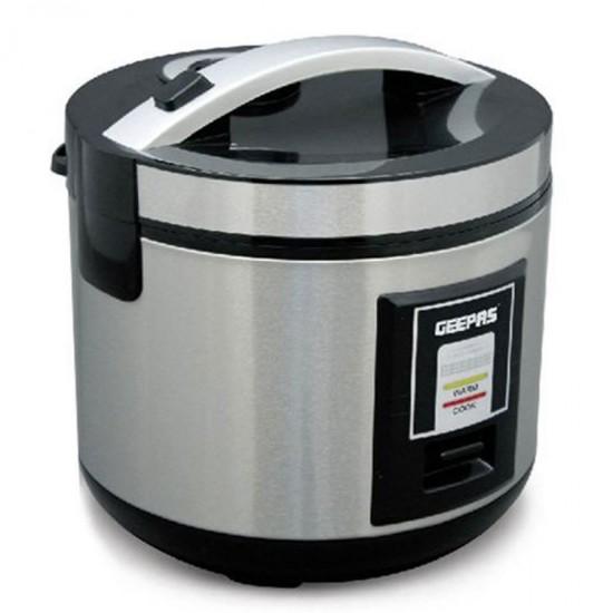 Geepas Stainless Rice Cooker, 1.8L, Nonstick Innerpot - GRC4330