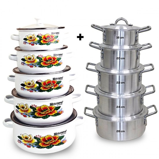10 Pcs Aluminium Cookware Set With 10 Pcs Casserole Set Bundle ( BND18-108 )
