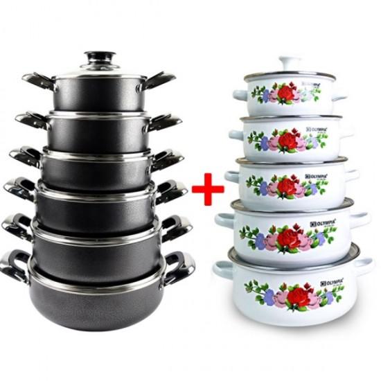 12 Pcs Black Cookware Set With 10 Pcs Casserole Set - BK18003