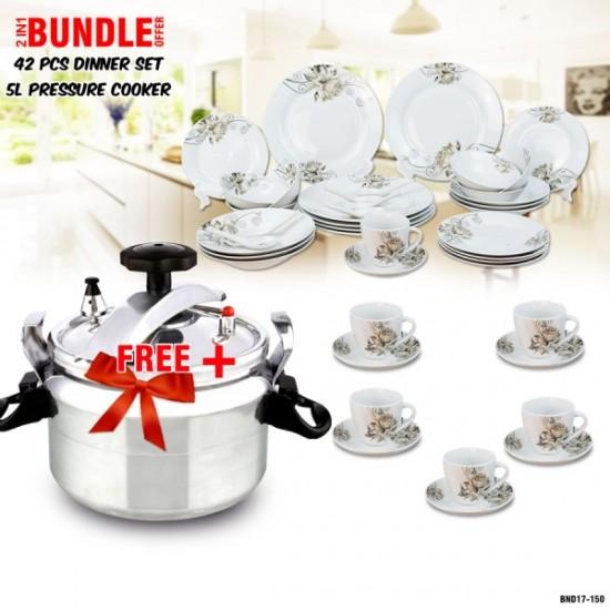 2in1 Bundle Offer: 42 PCS Ceramic Dinner Set DL1504 + 5 Litre Pressure Cooker BND17-150