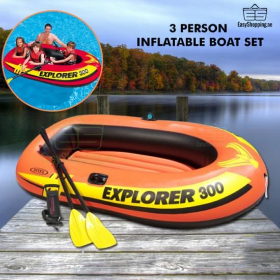 Intex 3 Person Inflatable Boat Set Explorer 300