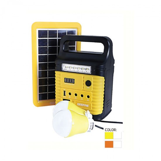 Geepas Rechargeable Home Solar System, 9V-3W, 3002Lum - GPS5901