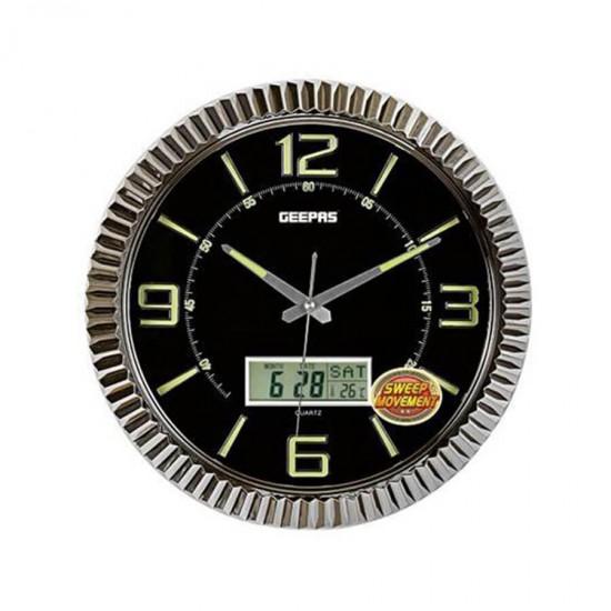 Geepas Wall Clock, 3D Hrs Numbrs, Date, Day, Tmpr - GWC3395
