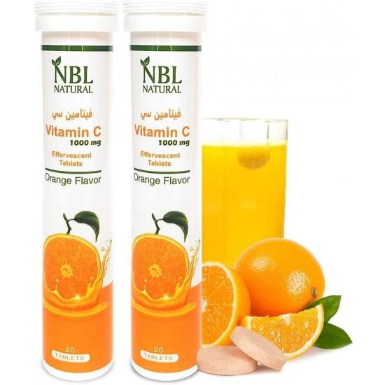 NBL Natural Vitamin C 1000 Mg Orange Flavor 20 Effervescent Tablets 2 Pack