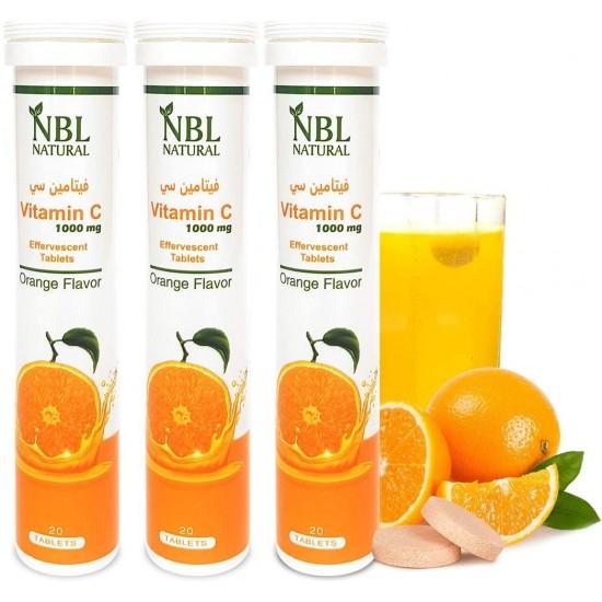 NBL Natural Vitamin C 1000 Mg Orange Flavor 20 Effervescent Tablets 3 Pack