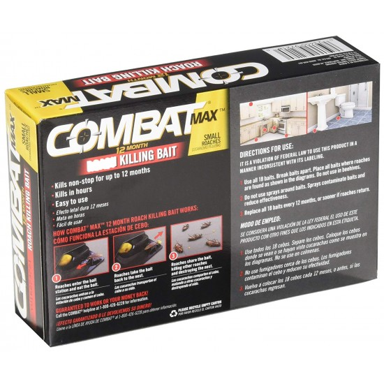 Combat 12 Month Roach Killing Bait, Small Roach Bait Station, 0.64 Ounce, 18 Count - Cockroaches Killer
