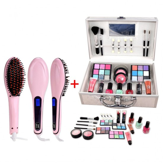 Hair Brush Straightener With LCD Screen And 22 PCS Makeup Set With Box-bnd-2033