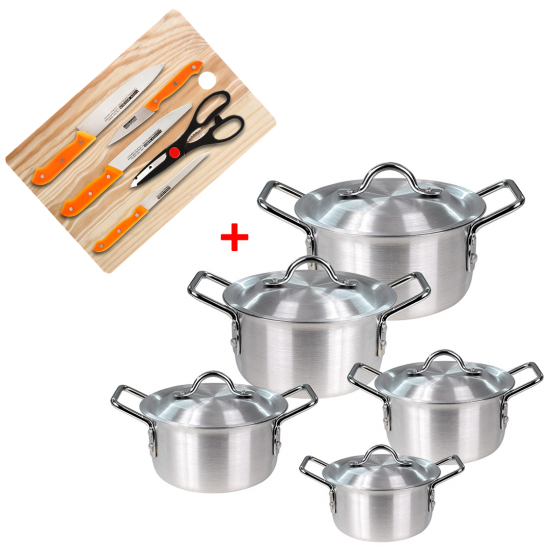 16 In 1 Bundle Offer 10 Pcs Aluminium Cookware + 6 Pcs Knives Set B1876
