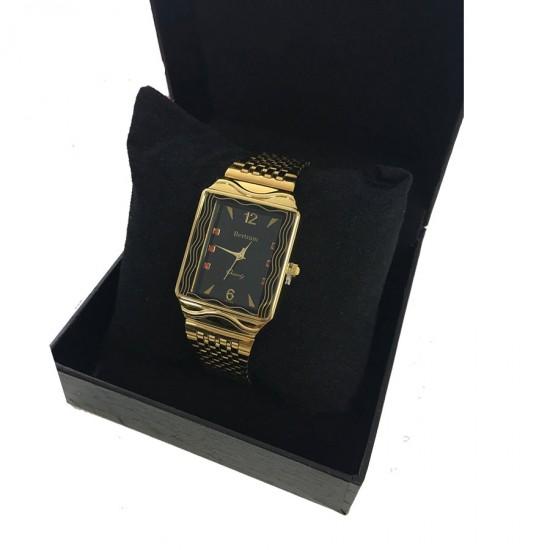 Bertram Men Stainless Steel 22K Gold Plated Watch BT441M