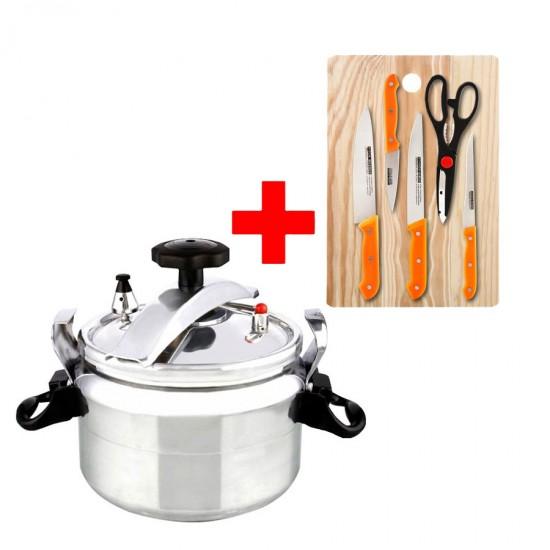 2 In 1 Bundle Offer 5 Liter Pressure Cooker+ 7 Pcs Knife Set - BND17-63